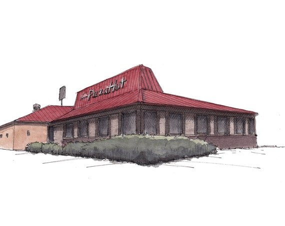 PIZZA HUT RESTAURANT - Fast Food, Deep Dish, Classic, Salad Bar, Architecture, Drawing, Ink Watercolor Painting, Plein Air, Art, Drawn There