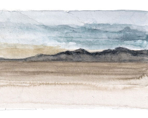 BLACK ROCK DESERT - Nevada, Playa, Mountains, Sky, Clouds, Plein Air Landscape Watercolor Painting, Sketchbook, Art, Drawn There