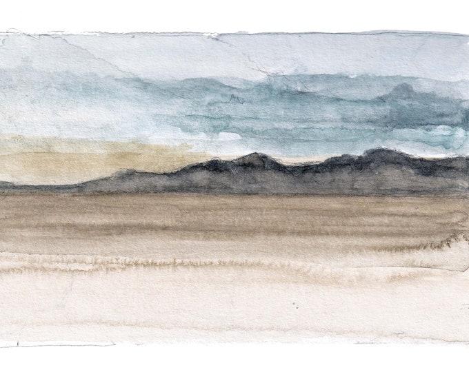 BLACK ROCK DESERT - Nevada, Playa, Mountains, Sky, Clouds, Plein Air Landscape Watercolor Painting, Sketchbook, Art, Drawn There