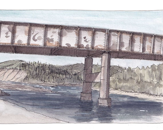 FLATHEAD RIVER - Blankenship Bridge, Glacier National Park, Montana, Drawing, Plein Air Watercolor Landscape Painting, Art, Drawn There