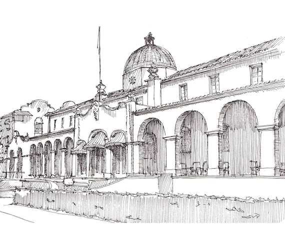 HOT SPRINGS ARKANSAS - Quapaw Bath House, Architecture, Bath House Row, Pen and Ink, Drawing, Sketchbook, Art Print, Drawn There
