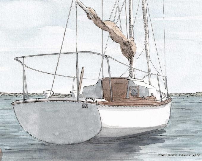 SMALL SAILBOAT - Sailing, Boat, Nautical, Boating, Ocean, Bay, Ink and Watercolor Painting, Drawing, Art, Drawn There