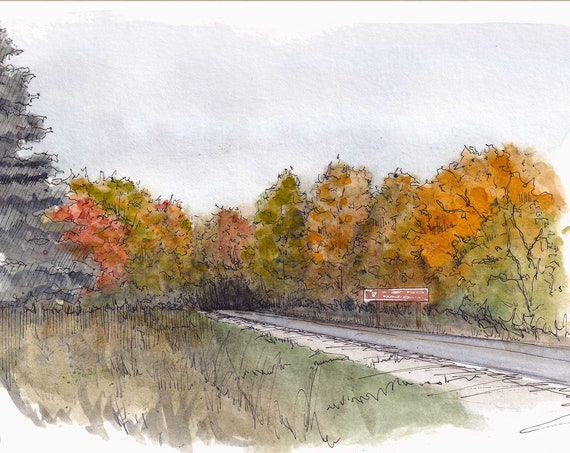 MICHIGAN FALL LEAVES - Autumn, Pictured Rocks, Upper Pensinsula, Nature, Plein Air Ink and Watercolor Painting, Sketchbook, Art, Drawn There
