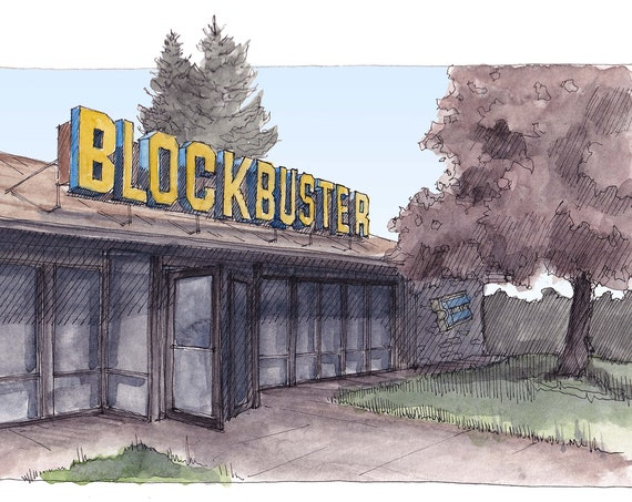 BLOCKBUSTER VIDEO - Bend, Oregon, Retro, Throwback, 90's Art, Video Rental Store, Drawing, Watercolor Painting, Sketchbook, Art, Drawn There