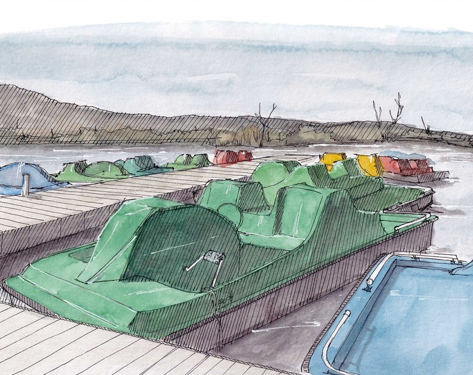 PEDAL BOAT - Recreation, Lake, Pond, Paddle Boat, Drawing, Watercolor Painting, Sketchbook, Art, Print, Drawn There