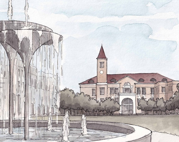 TEXAS CHRISTIAN UNIVERSITY - College Campus Quad, Fountain, Plein Air Watercolor Painting, Architecture,  Giclee Art Print, Drawn There