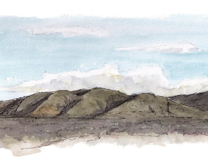 TEMECULA HILLS - California, Mountains, Landscape Painting, Sunset, Drawing, Watercolor Painting, Sketchbook, Art, Print, Drawn There