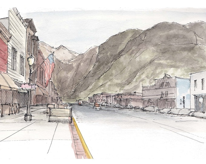 TELLURIDE COLORADO, Main Street - Ink and Watercolor, Painting, Drawing, Art, Sketchbook, Ski, Mountains, Architecture, Drawn There