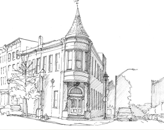 FELLS POINT BALTIMORE - Old House, Architecture, Wolfe and Fell, Urbansketcher, Pen and Ink, Sketchbook, Drawing, Art, Drawn There