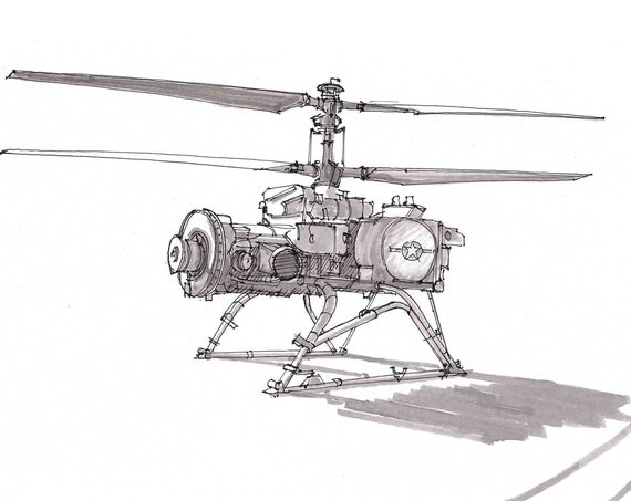 MILITARY DRONE QH-50D - White Sands Missile Range, Helicopter, Flying, Drawing, Sketchbook, Pen and Ink, Art, Print, Drawn There