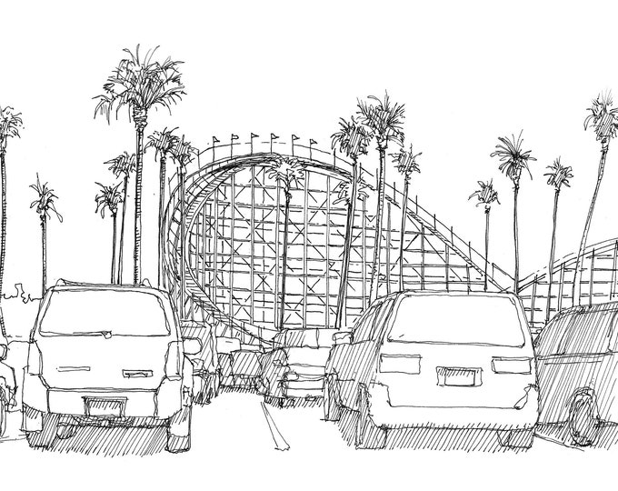 BELMONT PARK ROLLERCOASTER - Mission Beach, San Diego, Wooden Roller Coaster, Amusement Park, Drawing, Ink, Sketchbook, Art, Drawn There