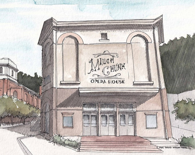 JIM THORPE PENNSYLVANIA - Mauch Chunk Opera House, Theater, Lehigh Gorge, Drawing, Watercolor Painting, Sketchbook, Art, Print, Drawn There