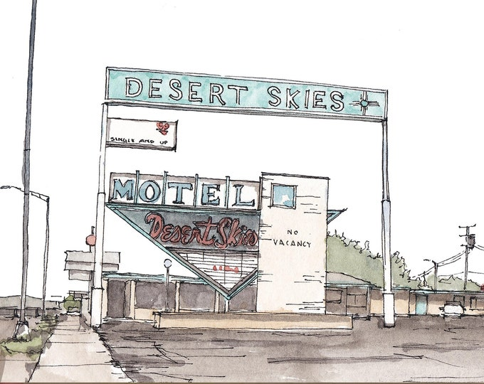 ROUTE 66 DESERT SKIES Motel - Roadside, Architecture, Sign, Drawing, Watercolor, Painting, Sketchbook, Art, Architecture, Drawn There