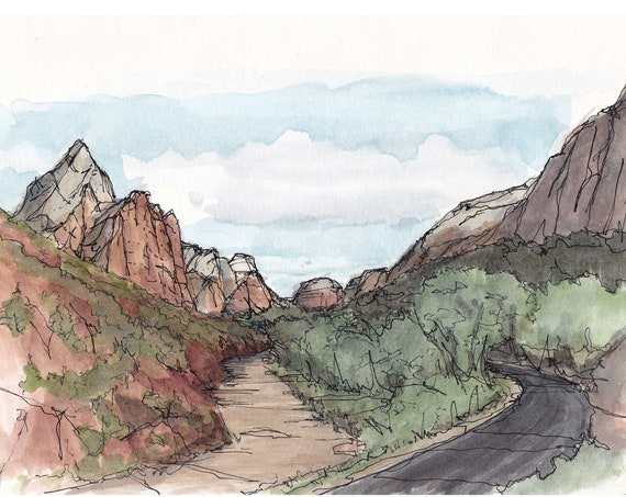 ZION VALLEY - Zion National Park, Virgin River, Utah, Mountains, Valley, Art, Ink and Watercolor, Drawing, Painting, Sketchbook, Drawn There