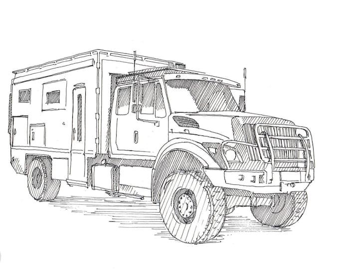 OVERLANDER TRUCK CAMPER - Global X, Overland, Adventure Vehicle, Off-Road, 4x4, Truck, Vanlife, Drawing, Pen & Ink, Sketchbook, Drawn There