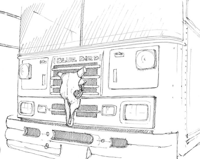 BLUE BIRD BUS - Cow Skull, Vanlife, Buslife, Roadtrip, School Bus, Skoolie, Pen and Ink Drawing, Sketchbook, Art Print, Drawn There