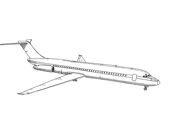 McDONNELL DOUGLAS AIRPLANE DC9 - Jet, Commercial Airliner, Fly, Travel, Flight, Ink Drawing, Line Drawing, Art, Print, Drawn There