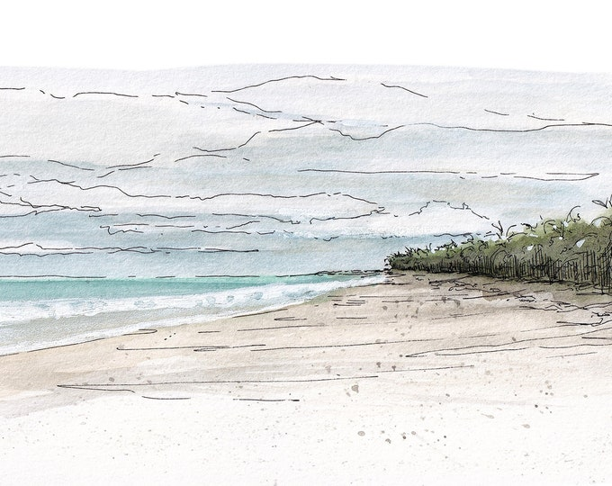 TULUM BEACH - Ocean, Tropical, Sand, Blue Water, Mexico, Playa Del Carmen, Landscape Painting, Watercolor, Drawing, Print, Art, Drawn There