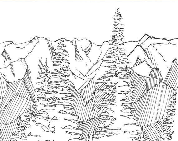OLYMPIC NATIONAL PARK - Mountain Range, Olympic Range, Landscape, Drawing, Pen and Ink, Sketchbook, Art, Drawn There