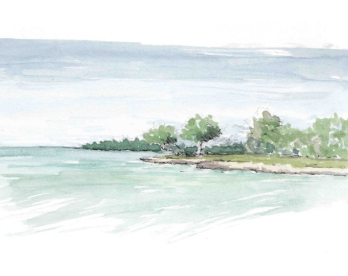BLUE CARIBBEAN WATER - Beach, Ocean, Turquoise, Island, Tropical, Jamaica, Drawing, Watercolor Painting, Sketchbook, Art, Print, Drawn There