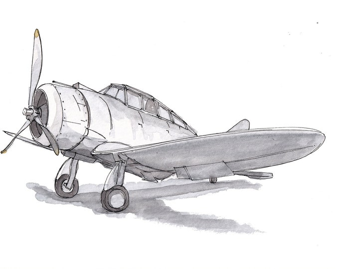 SEVERSKY P35 AIRPLANE - WWII, Fighter Plane, Military, Air Force, Ink Drawing, Watercolor Painting, Sketchbook, Art, Print, Drawn There
