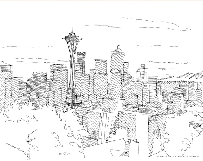 SPACE NEEDLE from Kerry Park - Seattle Skyline, Washington, Drawing, Pen and Ink, Sketchbook, Art, Architecture, Drawn There