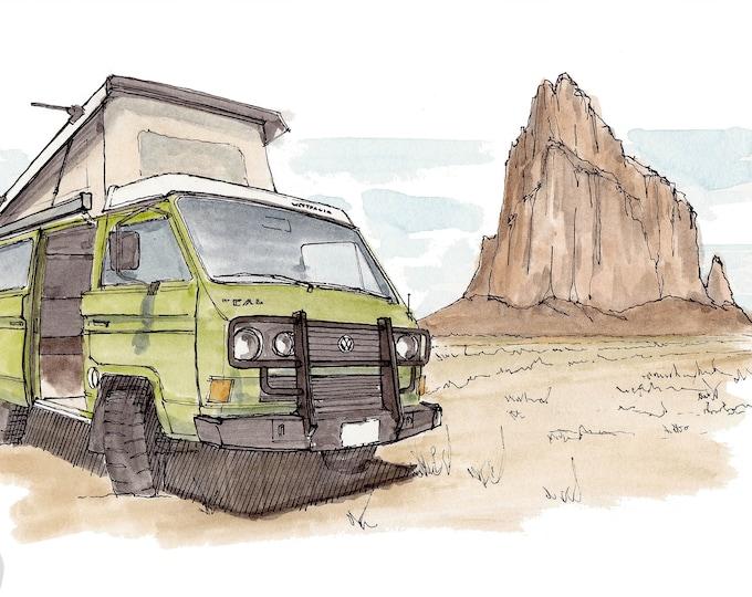 SHIPROCK and VW VANAGON - Utah, Natural Rock Formation, Navajo, Synchro, Ink and Watercolor, Drawing, Painting, Sketchbook, Drawn There