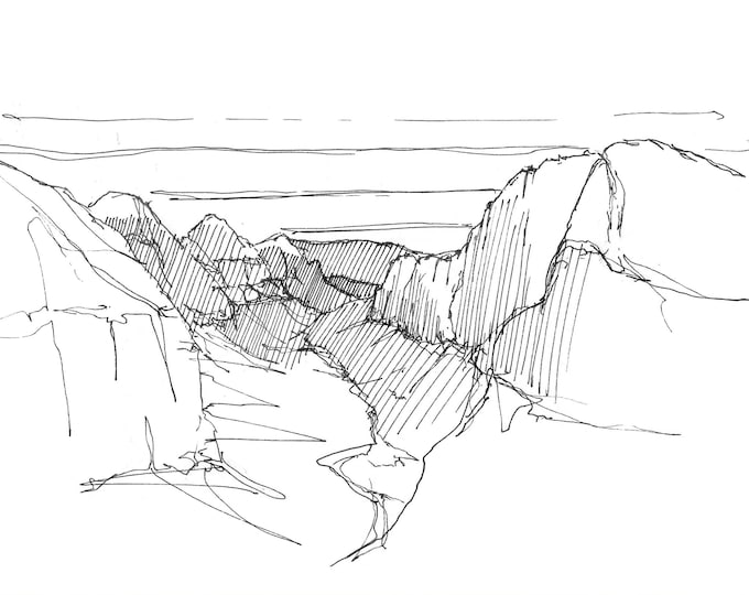 TOP of ANGELS LANDING - Zion National Park, Valley, Hike, Mountains, View, Landscape, Pen and Ink, Drawing, Art, Sketchbook, Drawn There