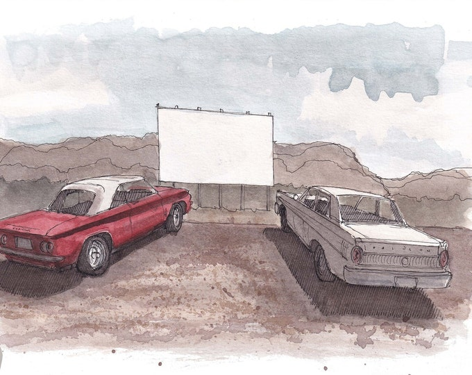 CARS at DRIVE-IN -  Classic, Vintage, Outdoor Movie Theater, Corvair, Ford Falcon, Ink, Watercolor Painting, Drawing, Art Print, Drawn There