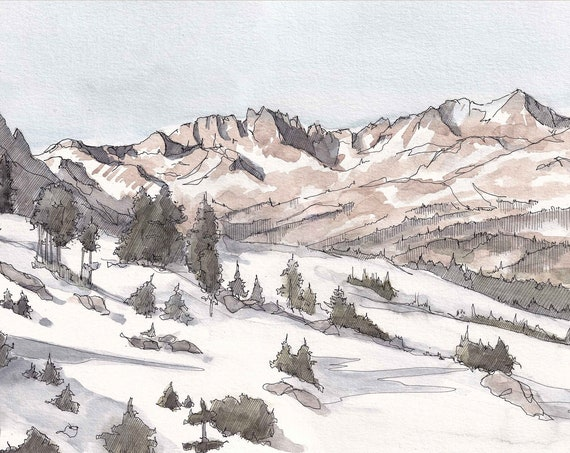 MINARET MOUNTAIN RANGE - Sierra Nevada, California, Snow, Winter, Hiking, Ink and Watercolor Plein Air Landscape Painting, Art, Drawn There