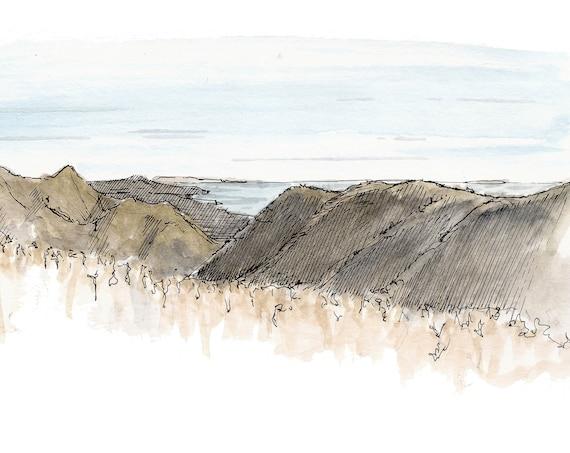 SANTA BARBARA CANYONS California - Ocean, Landscape, Pen and Ink, Drawing, Watercolor, Painting, Sketchbook, Art Print, Drawn There