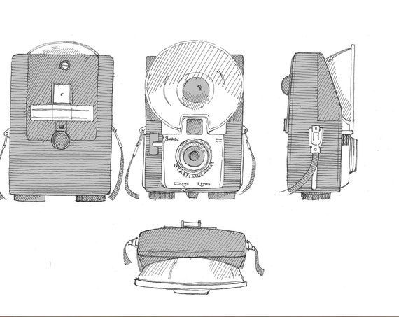 KODAK BROWNIE CAMERA - Starflash, Vintage Photography, Pen and Ink Drawing, Sketchbook, Art Print, Drawn There