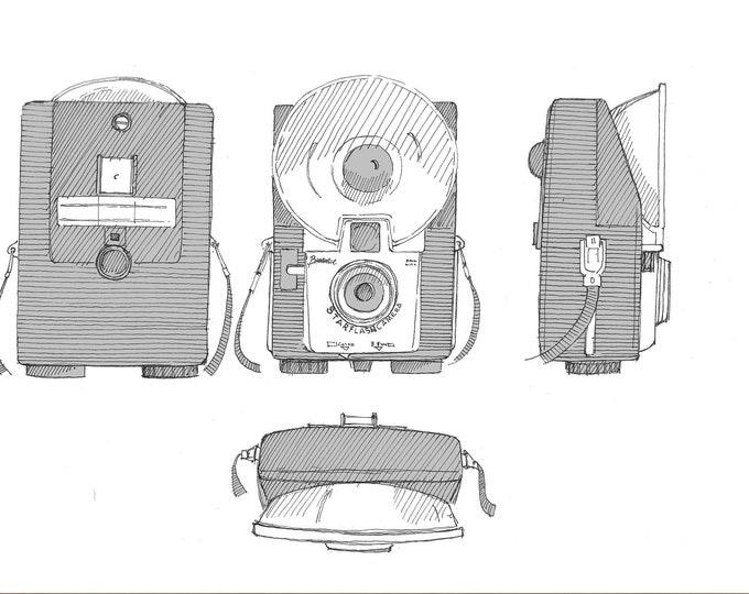 KODAK BROWNIE CAMERA - Starflash, Vintage Photography, Pen and Ink Drawing, Sketchbook, Art Print, Drawn There
