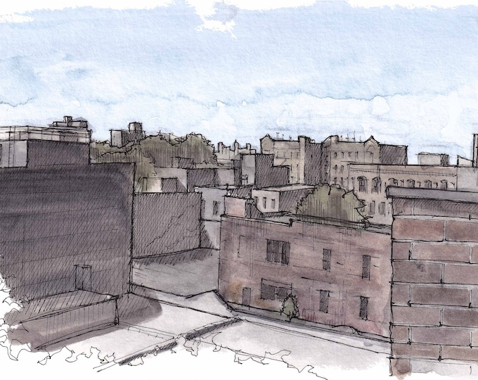BROOKLYN ROOFTOP SKYLINE - New York City, Bedford Stuy, nyc, Ink and Watercolor Painting, Drawing, Sketchbook, Art, Drawn There