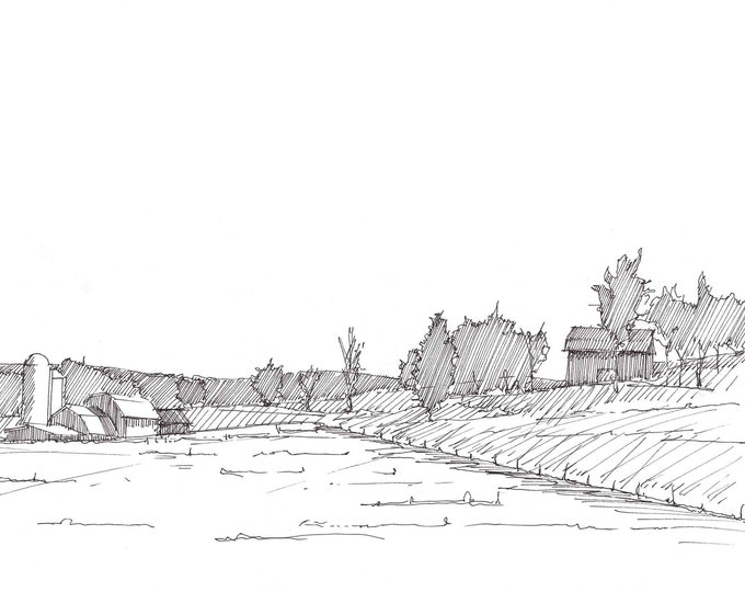 PENNSYLVANIA FARM - Tioga County, Butler Farm, Rural, Barns, Drawing, Pen and Ink, Landscape, Sketchbook, Art, Drawn There
