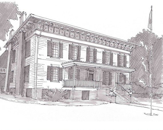 CONFEDERACY WHITE HOUSE in Montgomery, Alabama - Civil War, American History, Confederate, Sketch, Art, Pen and Ink, Drawing, Drawn There
