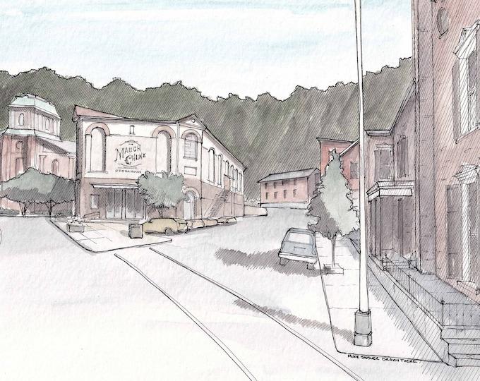 JIM THORPE PENNSYLVANIA - Opera House Square, Broadway, Drawing, Urbansketcher, Watercolor Painting, Sketchbook, Art, Print, Drawn There