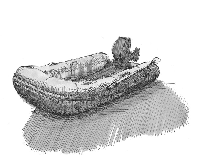 INFLATABLE BOAT - Raft, Dinghy, Zodiac, Beach, Mercury, Outboard Motor, Ink and Watercolor, Drawing, Painting, Sketchbook, Drawn There