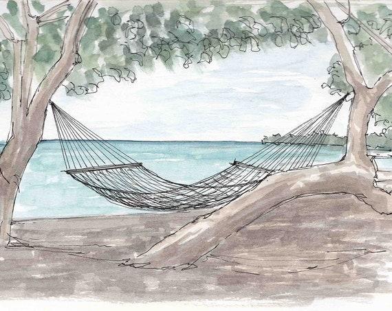 TROPICAL SHADE TREE - Hammock, Beach, Ocean, Shady, Sea, Pen and Ink, Drawing, Watercolor, Painting, Sketchbook, Art Print, Drawn There