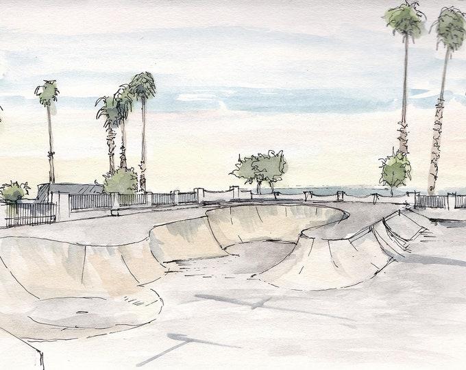 SANTA BARBARA SKATEPARK - Ink and Watercolor, Drawing, Painting, Sketchbook, Art Print, Skateboard, Palm Trees, Beach, Drawn There