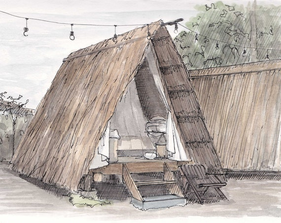 THATCHED ROOF A-FRAME - Selina La Fortuna, Costa Rica, Ink and Watercolor, Art Prints, Drawing, Painting, Glamping, A-Frame, Drawn There