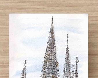 Ink and Watercolor Drawing of Watts Tower in Los Angeles, California - Craft, Engineering, Landmark, Painting, Sketch, Art, 5x7, 8x10