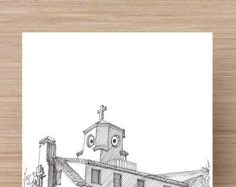 Ink Drawing of Chicken Church in Saint Pete, Florida - Drawing, Art, Architecture, Saint Petersburg, Pen and Ink, 5x7, 8x10, Print