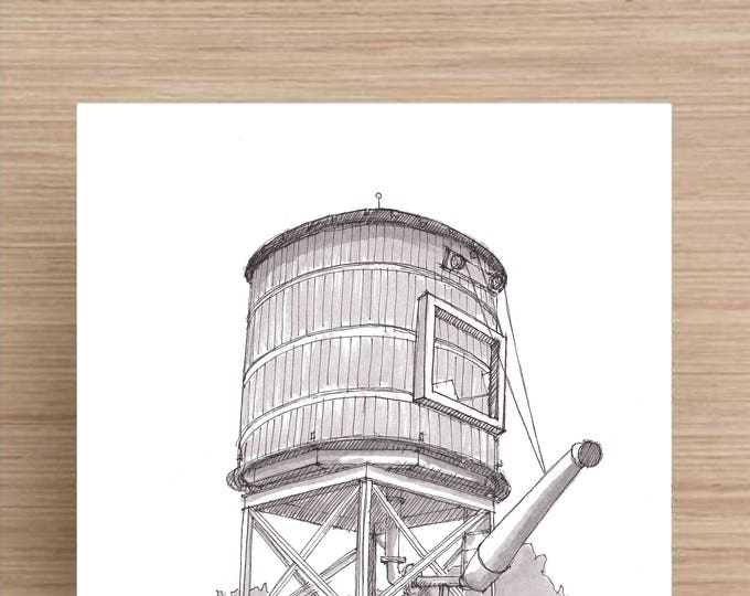 Featured listing image: Water Tower in Fort Worth, Texas - Railroad, Steam Engine, Train,  Ink Drawing, Sketch, Black and White, Art, Pen and Ink, 5x7, 8x10