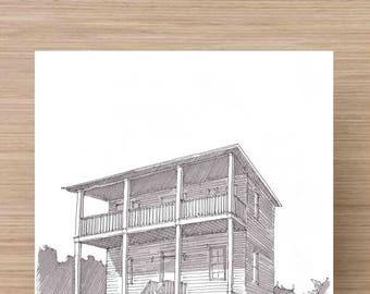 Ink Drawing of Beach House near Gulf Shores, Alabama - Drawing, Art, Pen and Ink, 5x7, 8x10, Print, Stilts, Dunes, Ocean, Porch