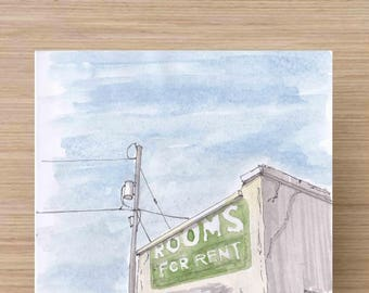Rundown Cheap Motel Apartments in Presido, Texas - Rooms For Rent, Minimalism, Ink Drawing, Sketch, Watercolor, Art, Pen and Ink, 5x7, 8x10