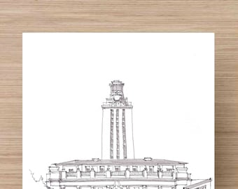 University of Texas Tower in Austin, Texas - Architecture, History, Ink Drawing, Sketch, Black and White, Art, Pen and Ink, 5x7, 8x10