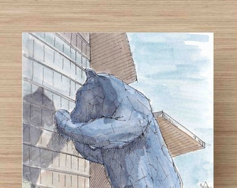Ink and Watercolor Drawing of Big Blue Bear at Colorado Convention Center - Public Art, Downtown, Denver, Painting, Sketch, Art, 5x7, 8x10