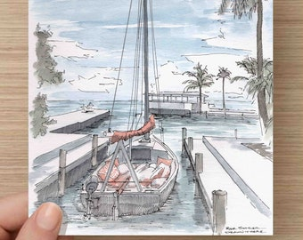Ink and Watercolor Drawing of Small Sailboat in Key West, Florida - Sailing, Sketch, Painting, 5x7 Print, Art, Illustration, Pen and Ink