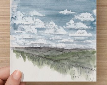 Ink and Watercolor Drawing of Clouds and Mountains from the Colorado Trail - Blue Sky, Lanscape, Painting, Sketch, Art, 5x7, 8x10